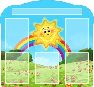 Солнышко над радугой 100х100см, 5 карманов