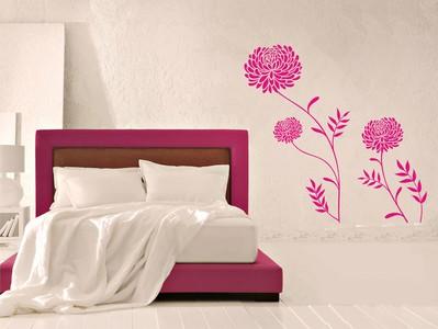 хризантемы и бабочка 100х97см