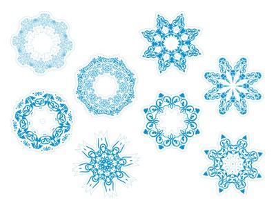 снежинки голубые 8шт. по 12см