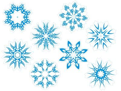 снежинки голубые 8шт. по 15см