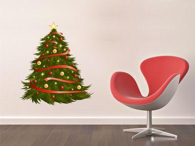елка с красными лентами 55х50см