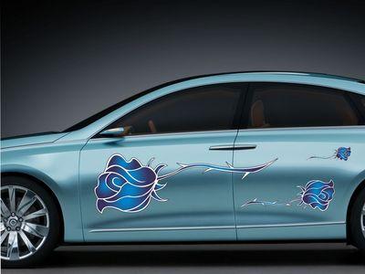 синие розы 130х34см