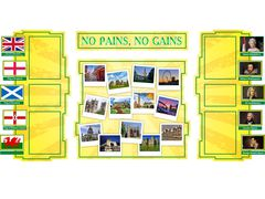 No pains no gains стенд 194х96см 6 карманов